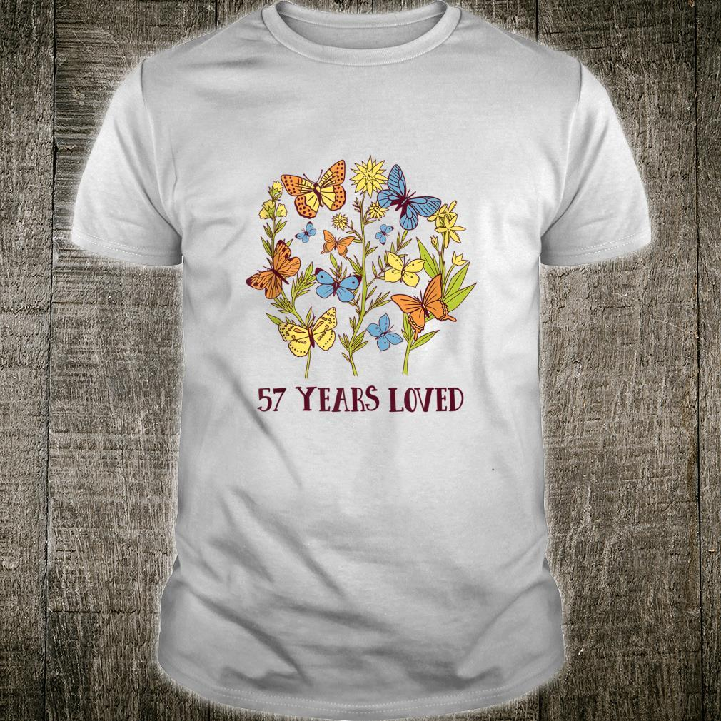 57 Years old birthday loved Butterfly Flowers Shirt