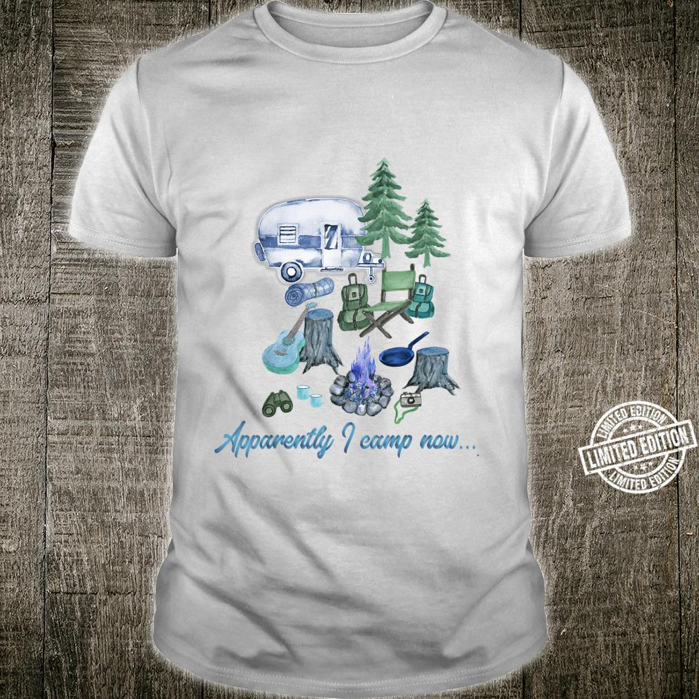 Apparently I Camp Now Blue Watercolor Camper Camping Shirt