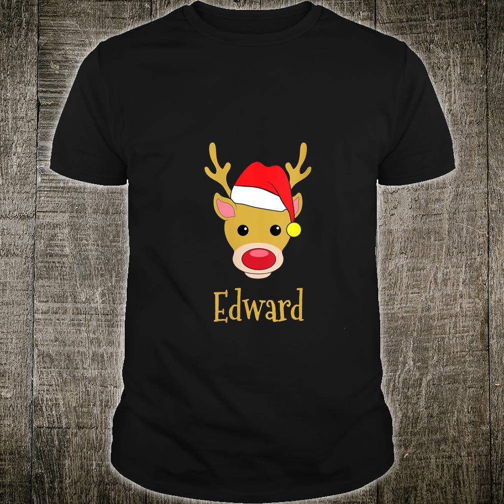 Edward Christmas RedNosed Reindeer Personalized Name Shirt