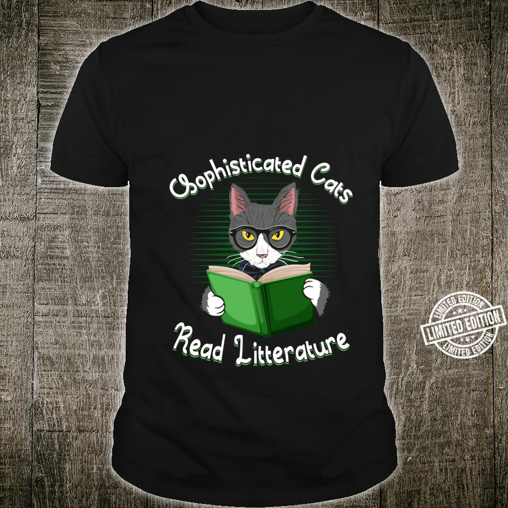 Funny Cat Litter Sophisticated Cats Read Litterature Kitty Shirt