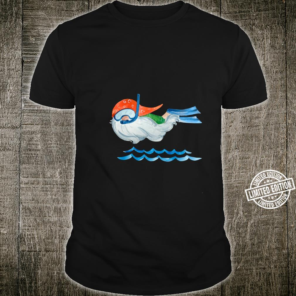 Funny Quirky Swimming Snorkeling Gnome in Watercolor Shirt