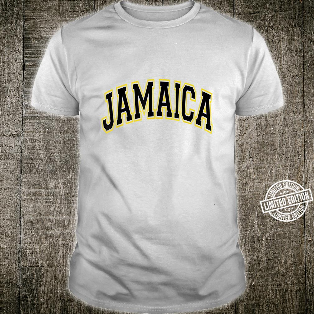 Jamaica Varsity Style Black Text with Yellow Outline Shirt