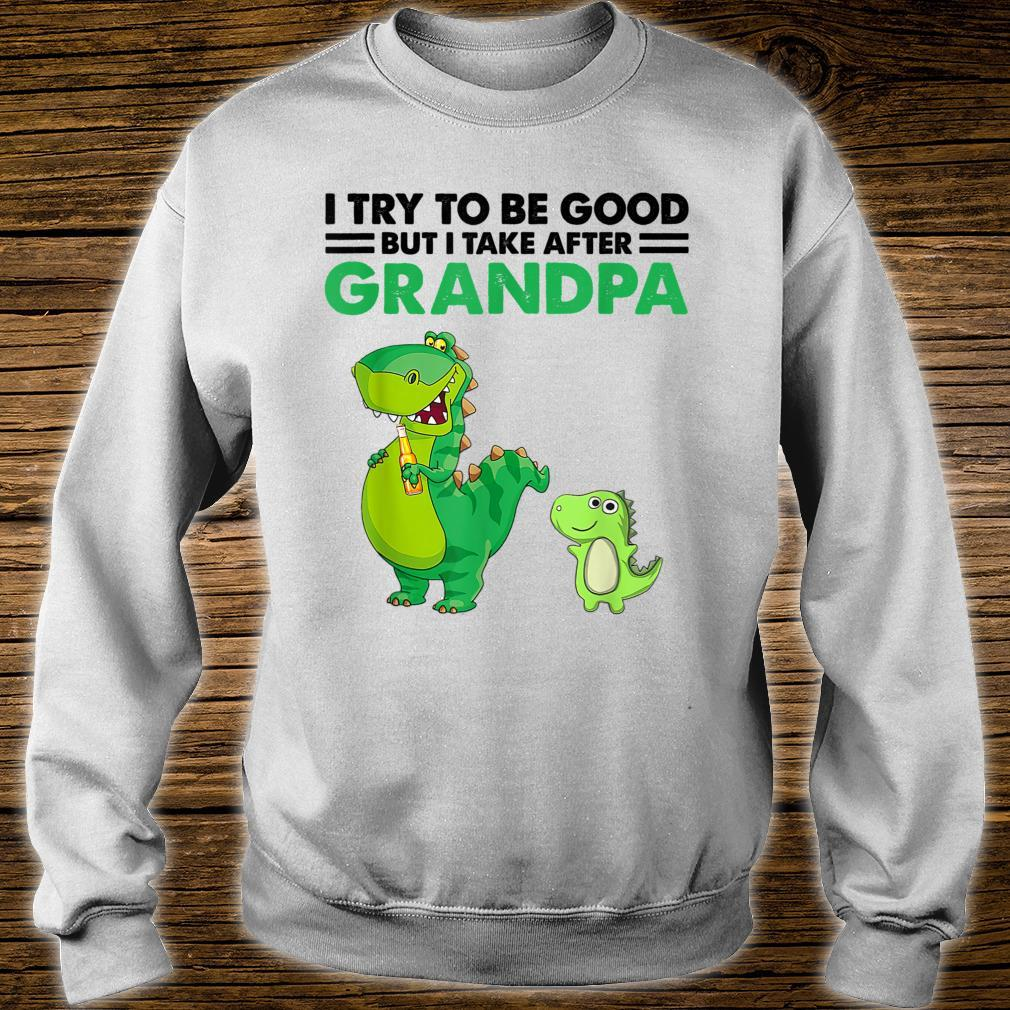 Kids I Try To Be Good But I Take After My Grandpa Dinosaur Shirt sweater