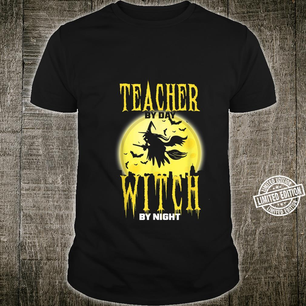 Moon Teacher by Day Witch by Night Halloween Shirt