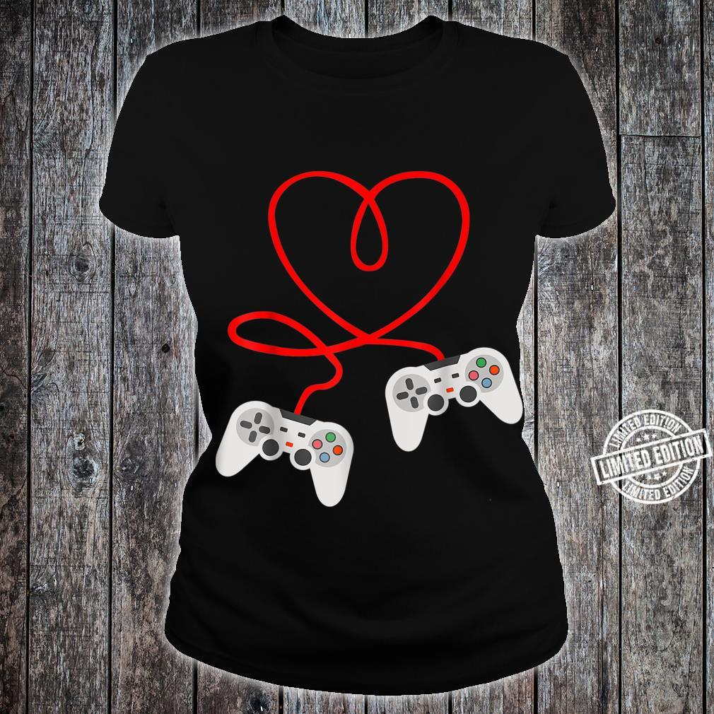 Video Gamer Valentines Day With Controllers Heart Shirt ladies tee