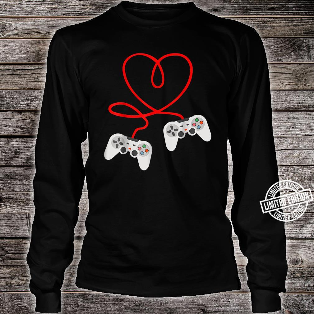 Video Gamer Valentines Day With Controllers Heart Shirt long sleeved
