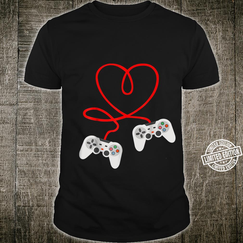 Video Gamer Valentines Day With Controllers Heart Shirt