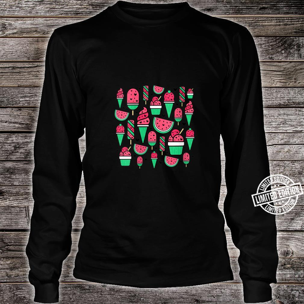 Watermelon Summer Popsicle Ice Lolly Ice Cream Cone Cute Shirt long sleeved