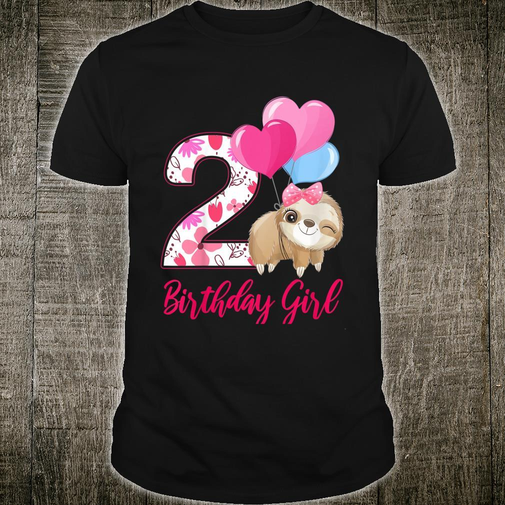 Youth 2 Birthday Girl Cute Sloth Two Years Old Shirt