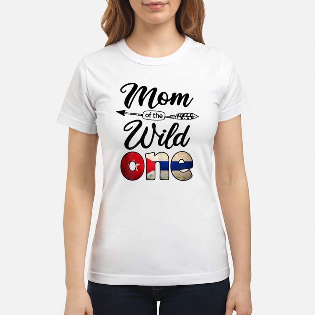 Cuban Mom of the Wild One Birthday Cuba Flag Shirt ladies tee