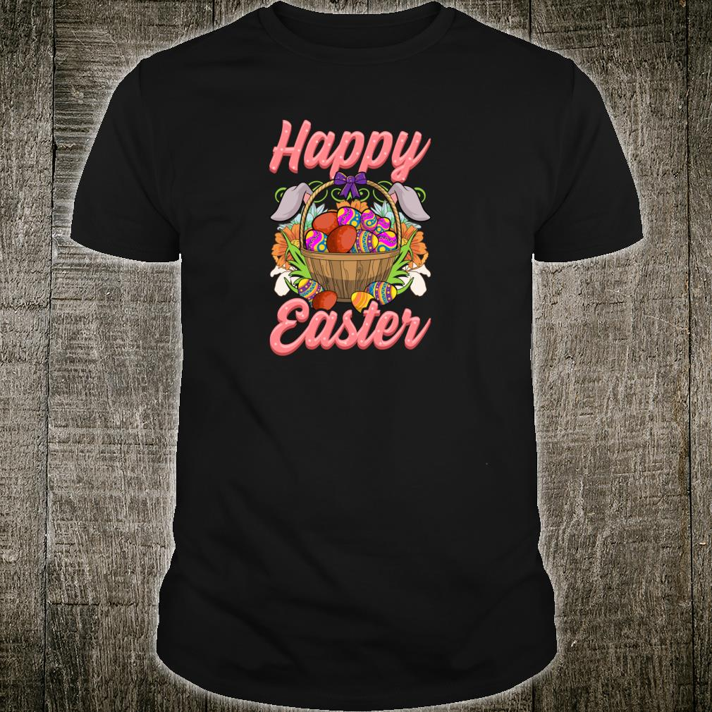 Happy Easter Floral Easter Egg Bunny Ears Costume Girls Shirt