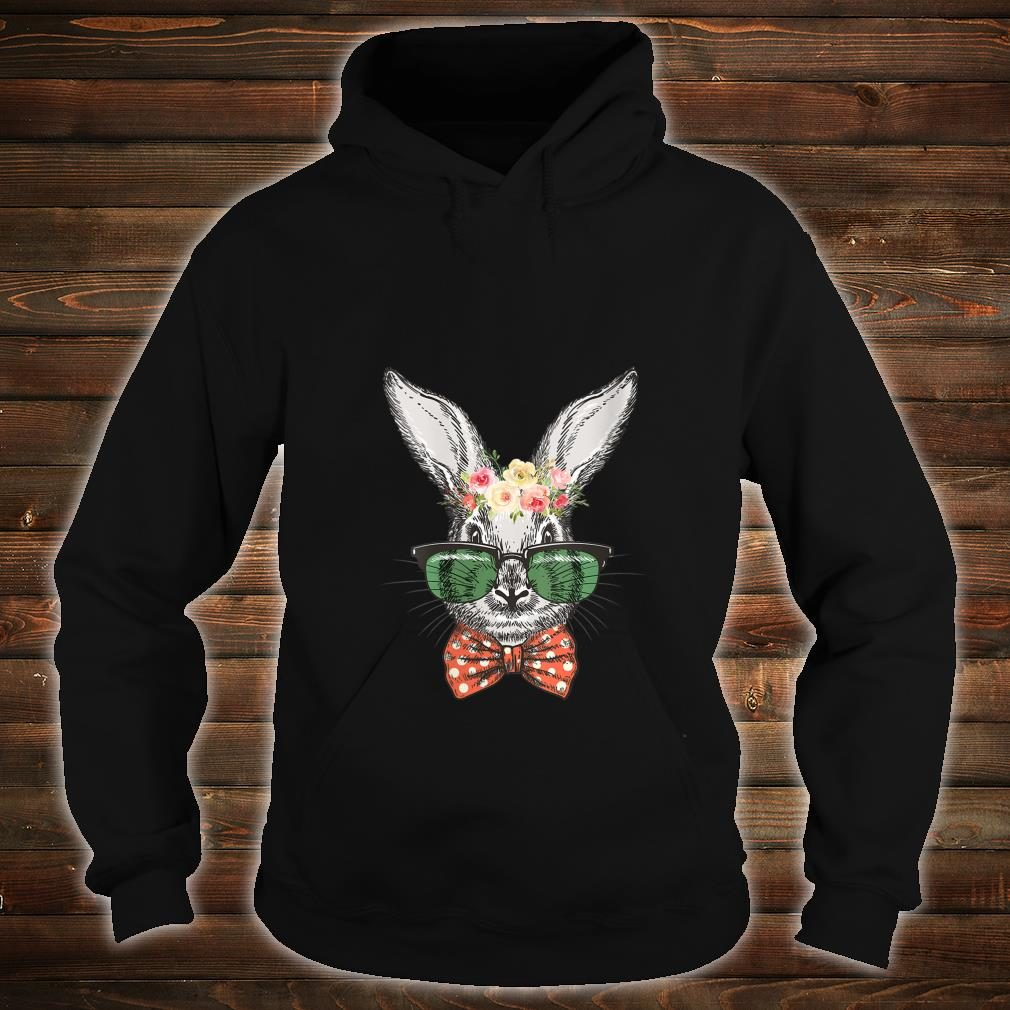 Hippie Bunny Face Flower Glasses Easter Bunny Boys Shirt hoodie