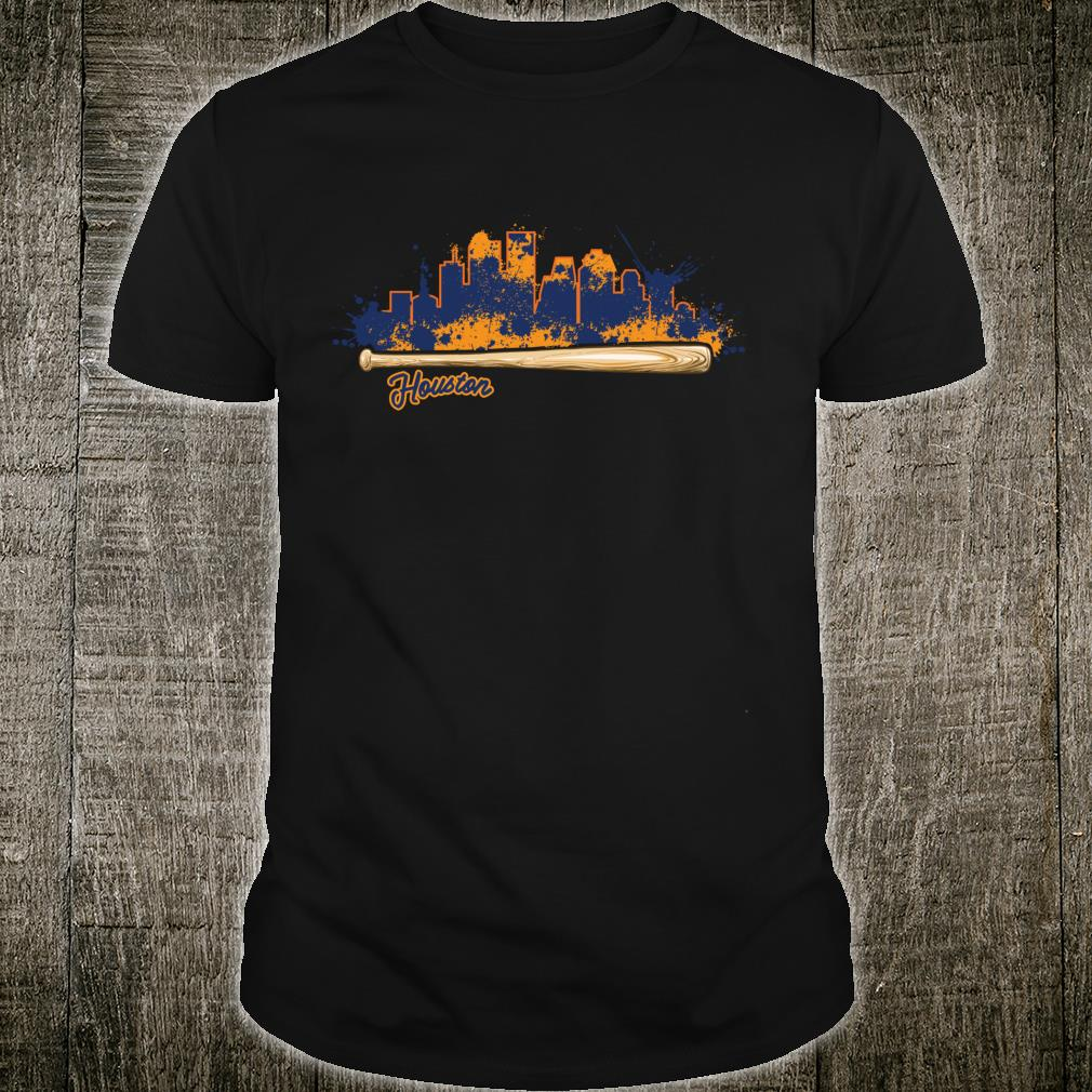 Houston City Skyline Paint Splat Baseball Bat Fan Shirt