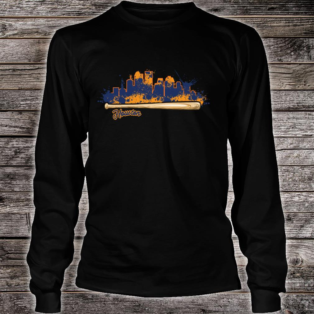 Houston City Skyline Paint Splat Baseball Bat Fan Shirt long sleeved