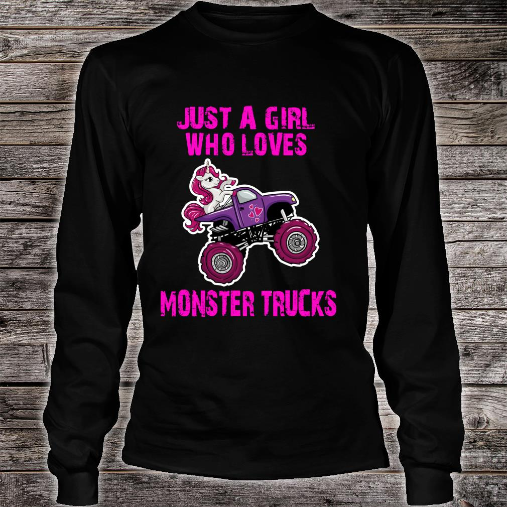 Just A Girl Who Loves Monster Trucks for Unicorn Girls Shirt long sleeved