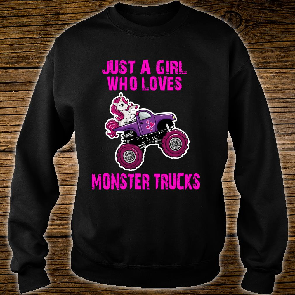 Just A Girl Who Loves Monster Trucks for Unicorn Girls Shirt sweater
