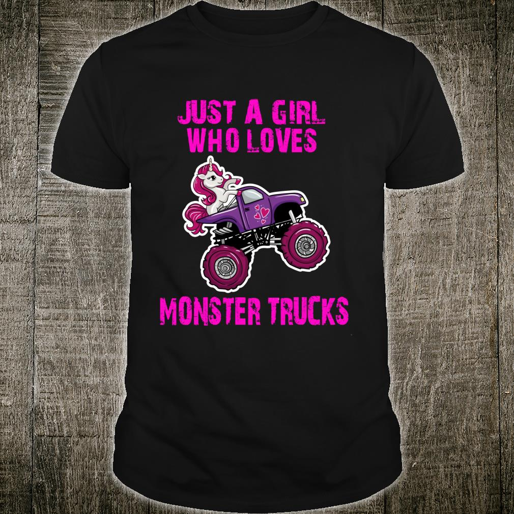 Just A Girl Who Loves Monster Trucks for Unicorn Girls Shirt