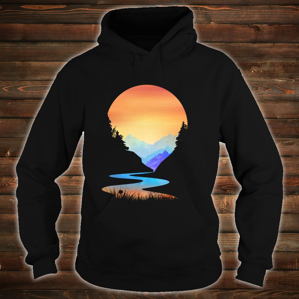 Outdoor Sunset Vintage Style Mountains Sun Nature Shirt hoodie