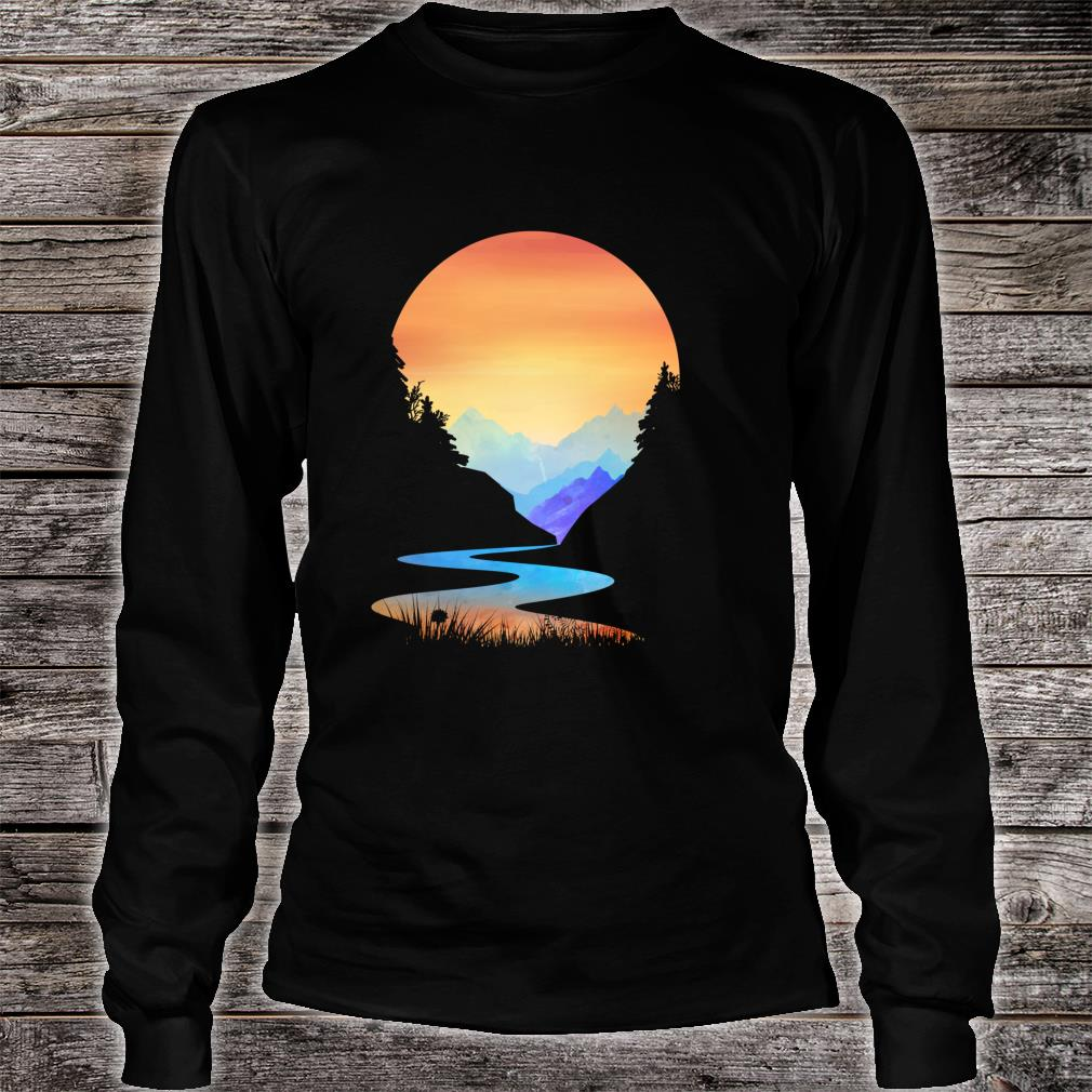 Outdoor Sunset Vintage Style Mountains Sun Nature Shirt long sleeved