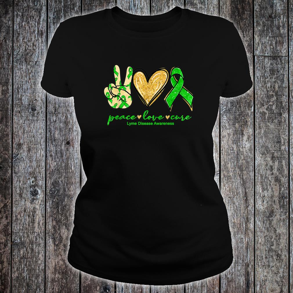 Peace Love Cure Ribbon Lyme Disease Awareness Shirt ladies tee