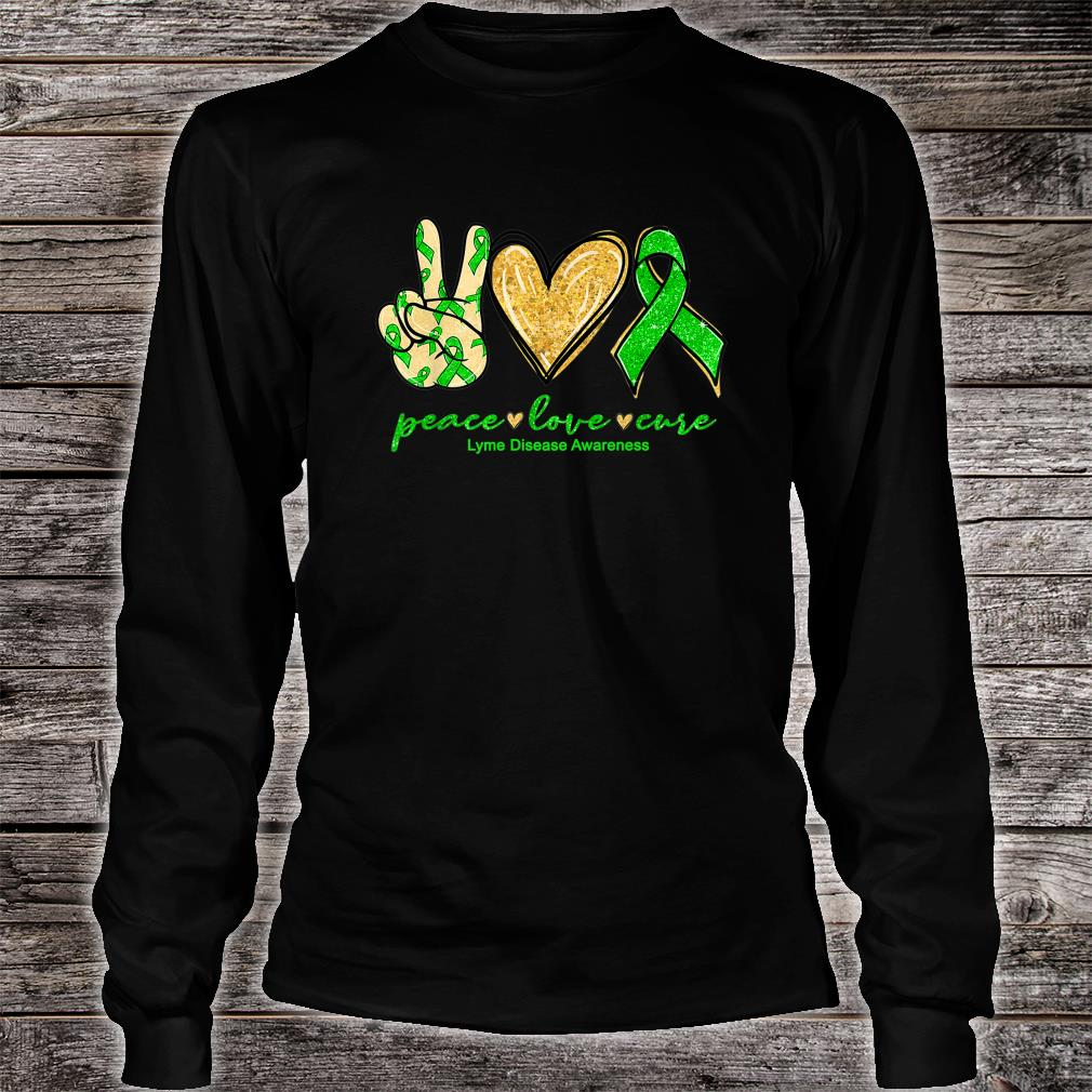 Peace Love Cure Ribbon Lyme Disease Awareness Shirt long sleeved