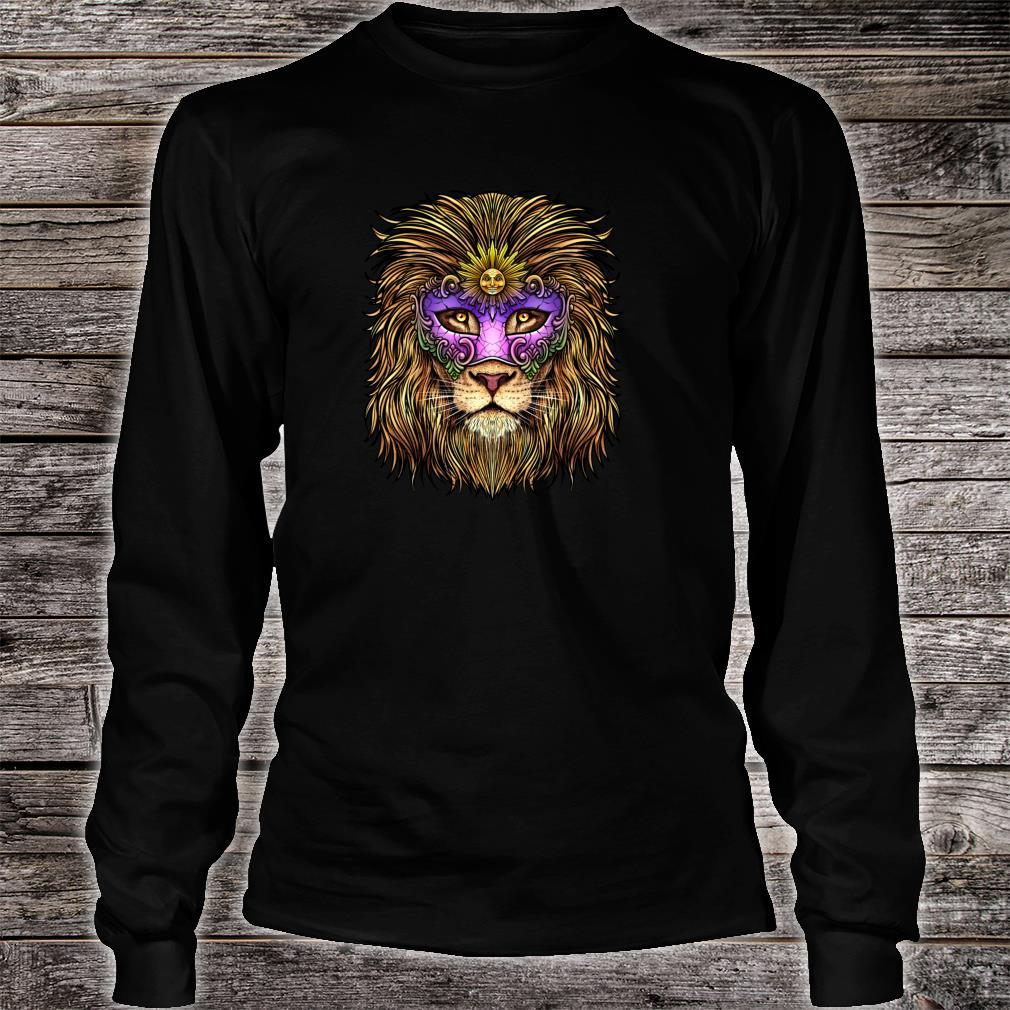 Pride Lion With Cute Mask Carnival Mardi Gras Shirt long sleeved