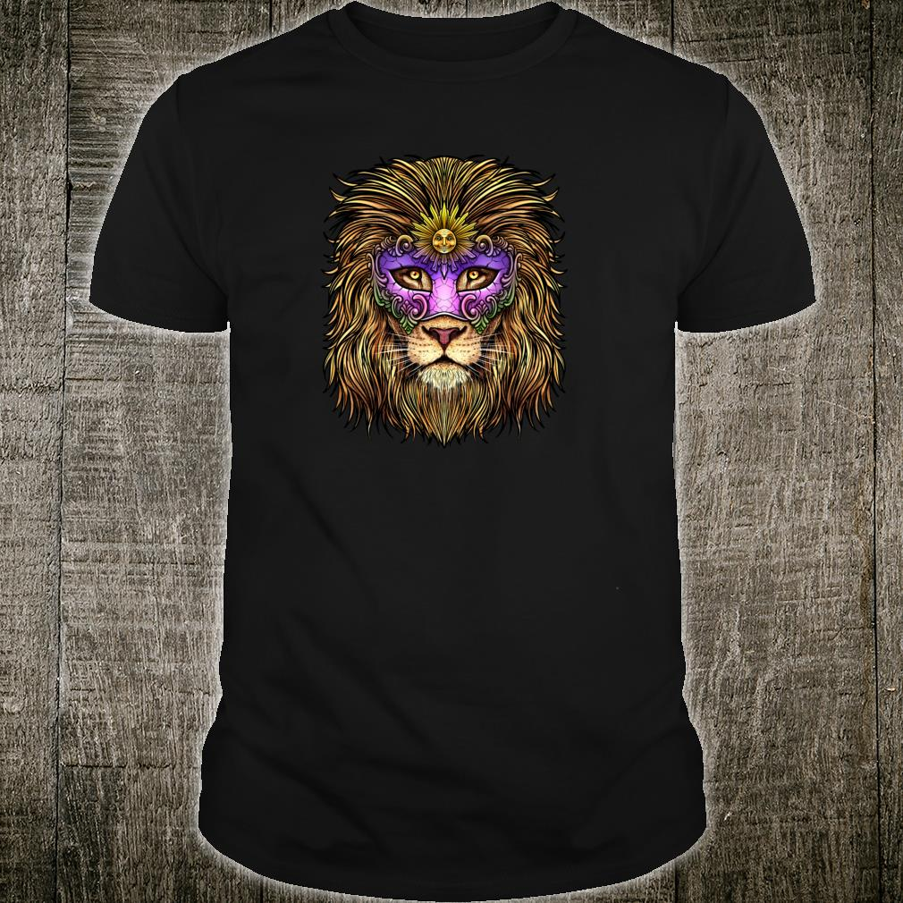 Pride Lion With Cute Mask Carnival Mardi Gras Shirt