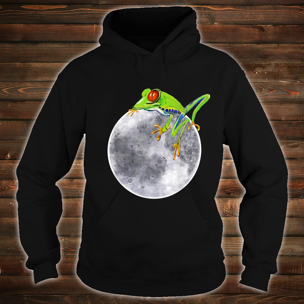 Red eyed tree frog on the moon rainforest Humor cute Shirt hoodie