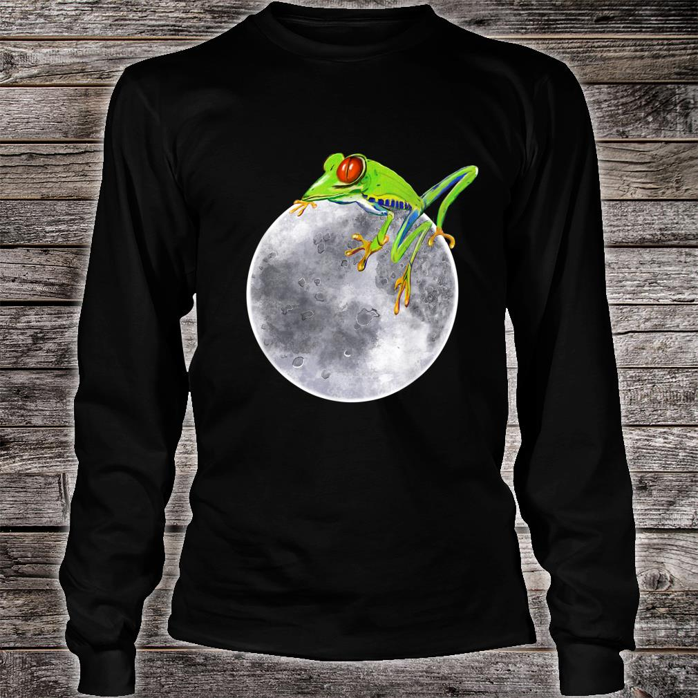 Red eyed tree frog on the moon rainforest Humor cute Shirt long sleeved