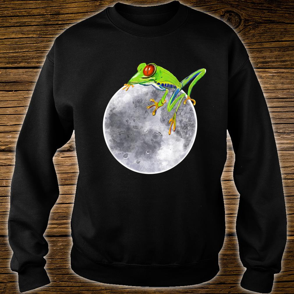 Red eyed tree frog on the moon rainforest Humor cute Shirt sweater