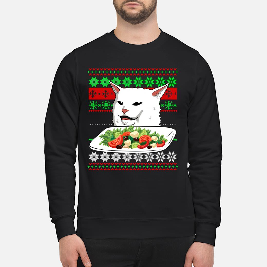 Official Woman Yelling At A Cat Ugly Christmas Sweater Meme Lustiges Langarm Shirt Hoodie Tank Top And Sweater